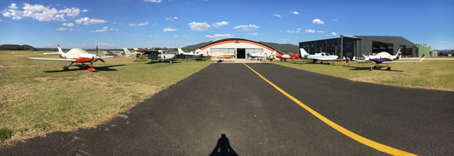 A wide angle shot of the Hangar House.