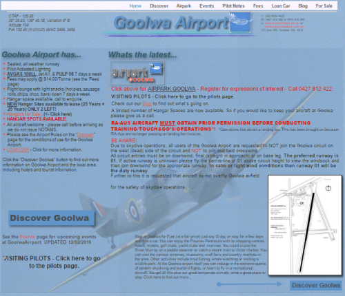 This is a screen shot of the Goolwa Airport website. http://www.goolwaairport.com.au/Goolwa_Airport/Home.html If you have any question ring Geoff for a chat.